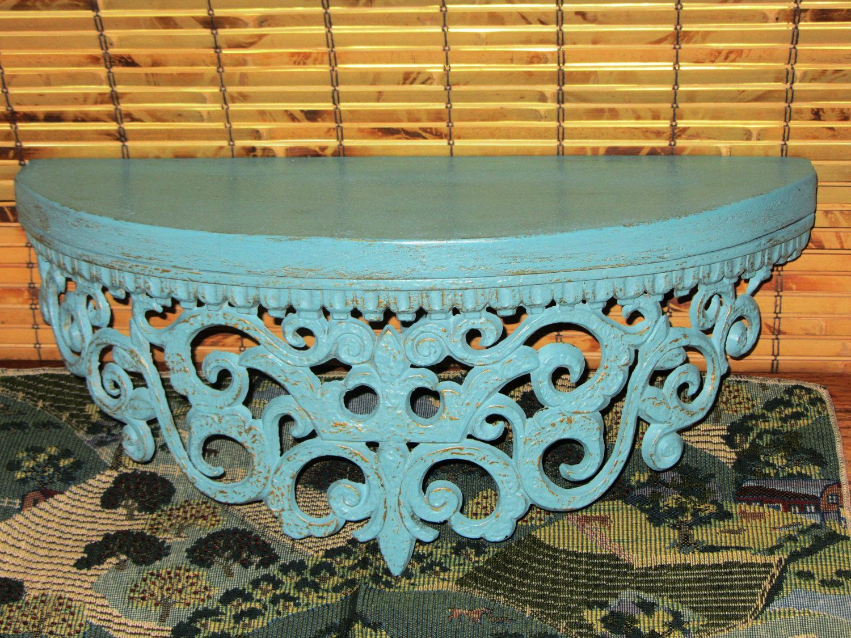 Vintage Ornate Distressed Aqua Gold Half Circle Wall Shelf Table Shabby And