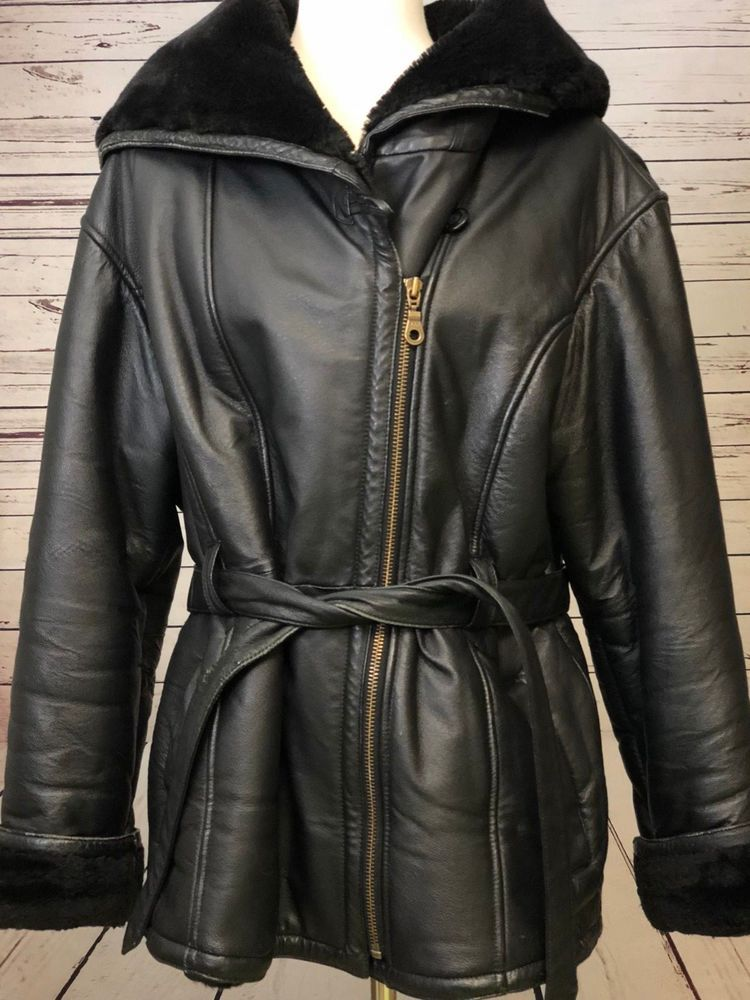 WILSON'S LEATHER Women's Large Black Faux Fur LINED Hooded