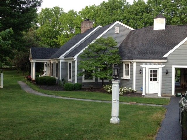 Cape Cod Exterior Ideas Part - 34: Grey Bluestone U0026 Brick Walkway - Traditional - Exterior - New York