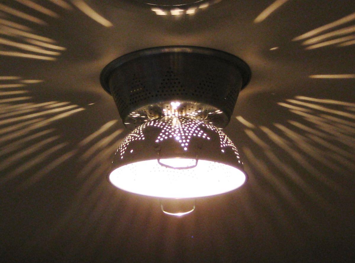 DIY Hanging Lamp Shade From A Colander | DIY Interior ...