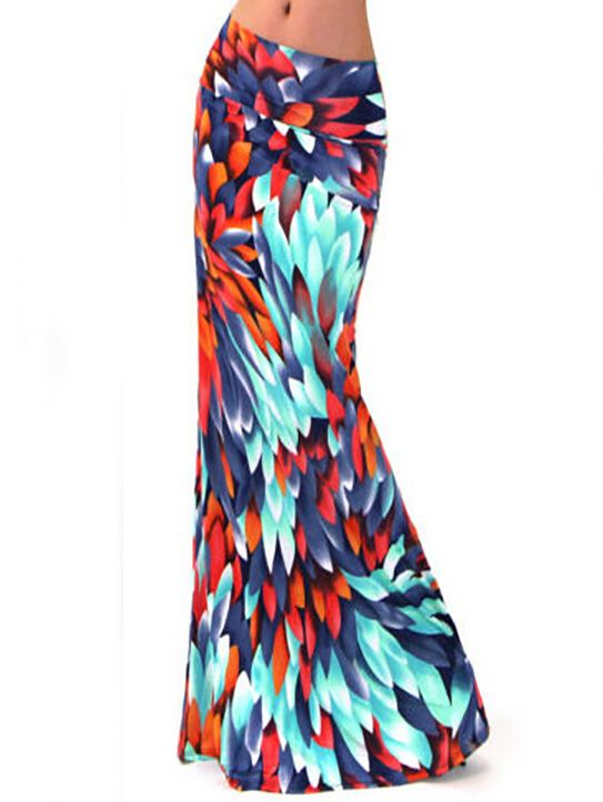 74ace0577d Multicolor+Peacock+Feathers+Print+Maxi+Skirt+15.86