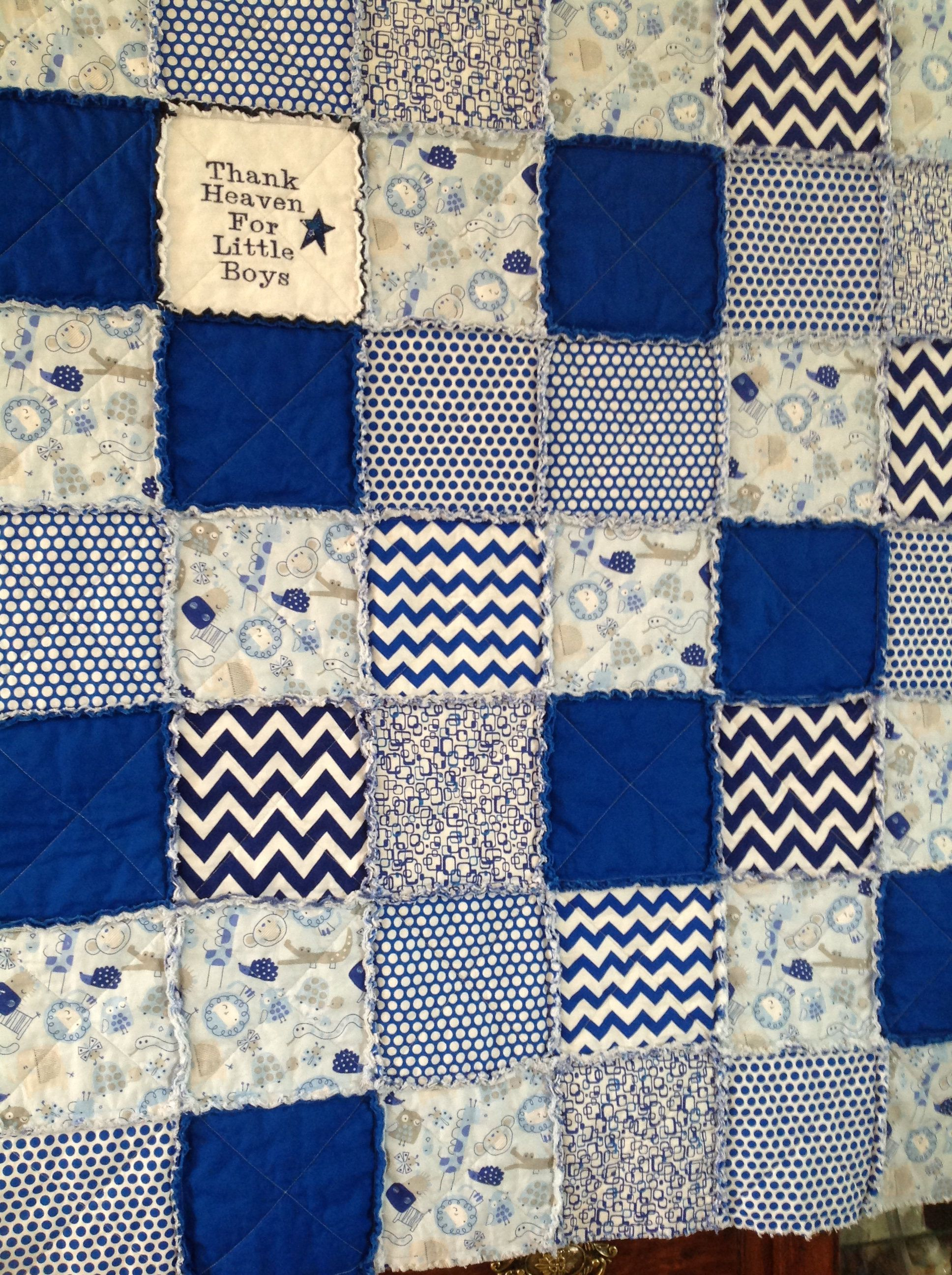 Baby Boy Quilt, Royal Blue, White, Baby Boy Rag Quilt,