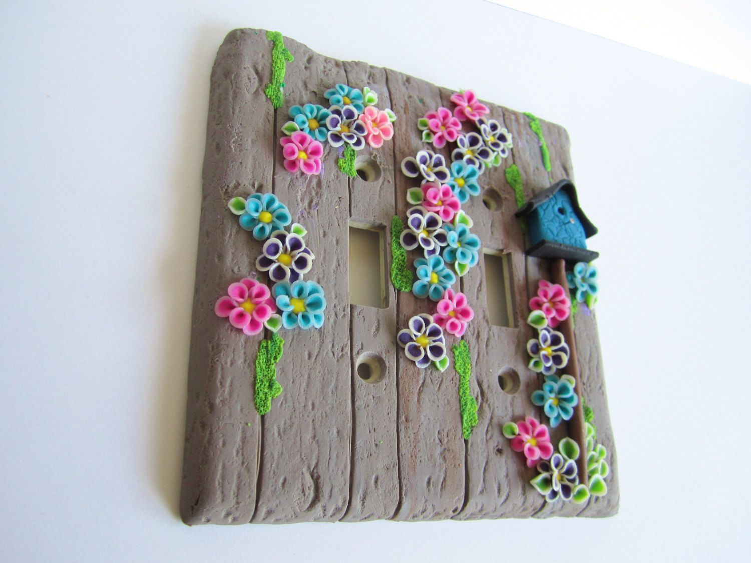 The Old Gray Fence light switch plate cover, flowers, birdhouse, polymer clay by DawnsClayFantasy on Etsy
