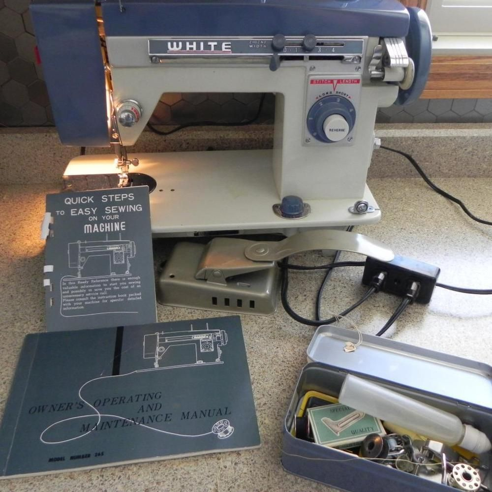 #284 Vintage White Brand Model 265 Sewing Machine & Manual & Attachments  Sew OLD #Whitemodel265
