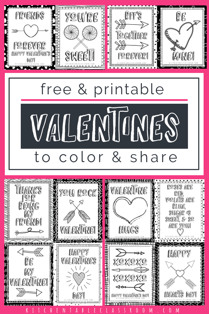 Printable Valentine Cards To Color The Kitchen Table Classroom Printable Valentines Cards Valentines Printables Free Valentine S Cards For Kids