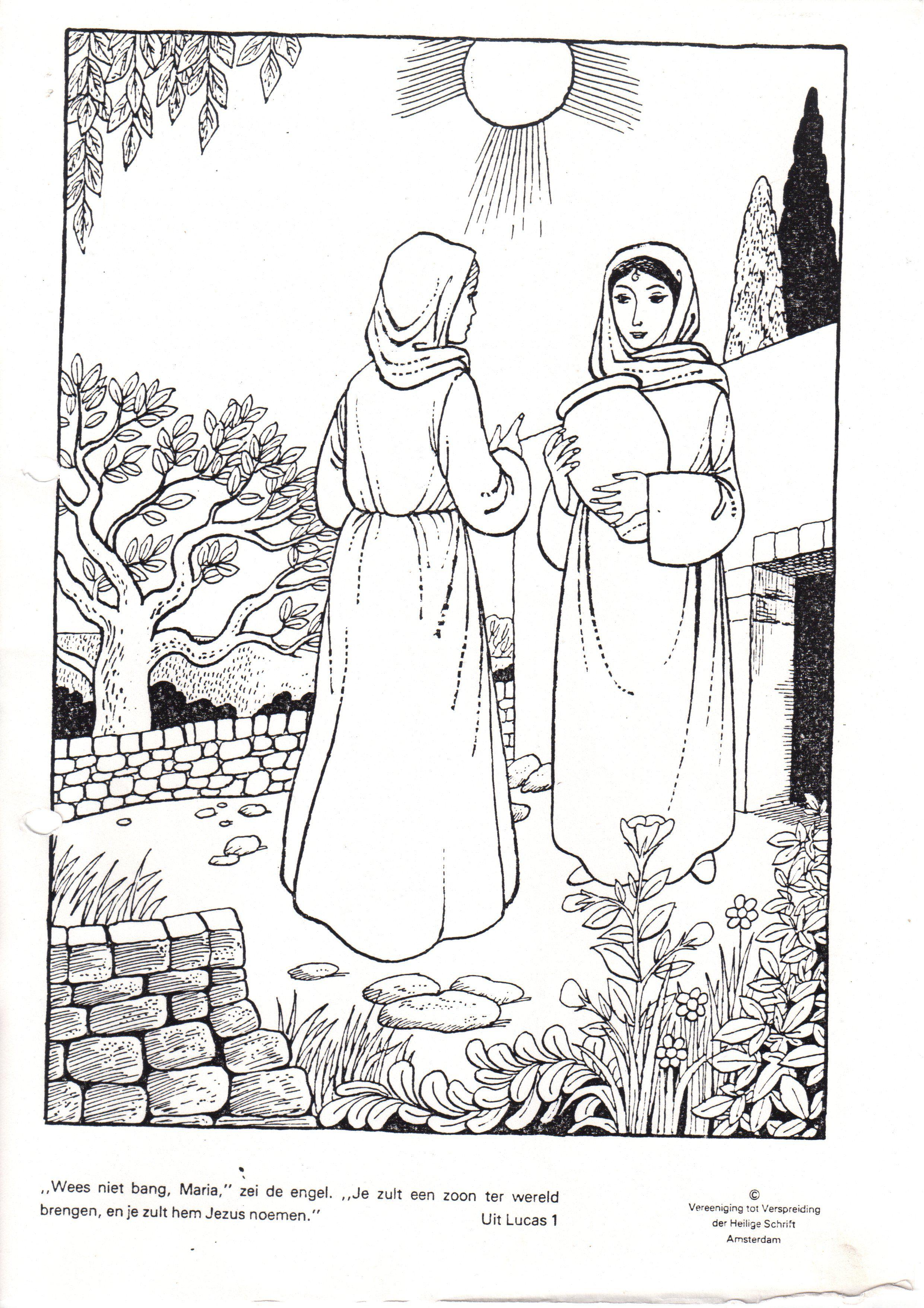 Maria Bezoekt Elisabeth Bijbel Kleurplaten Kleurplaten Zondagschool