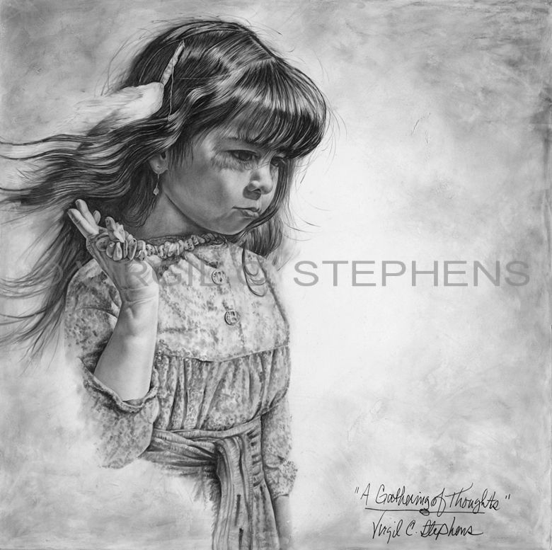 A gathering of thoughts print from original conte pencil drawing of a native american little girl from the mescalero tribe