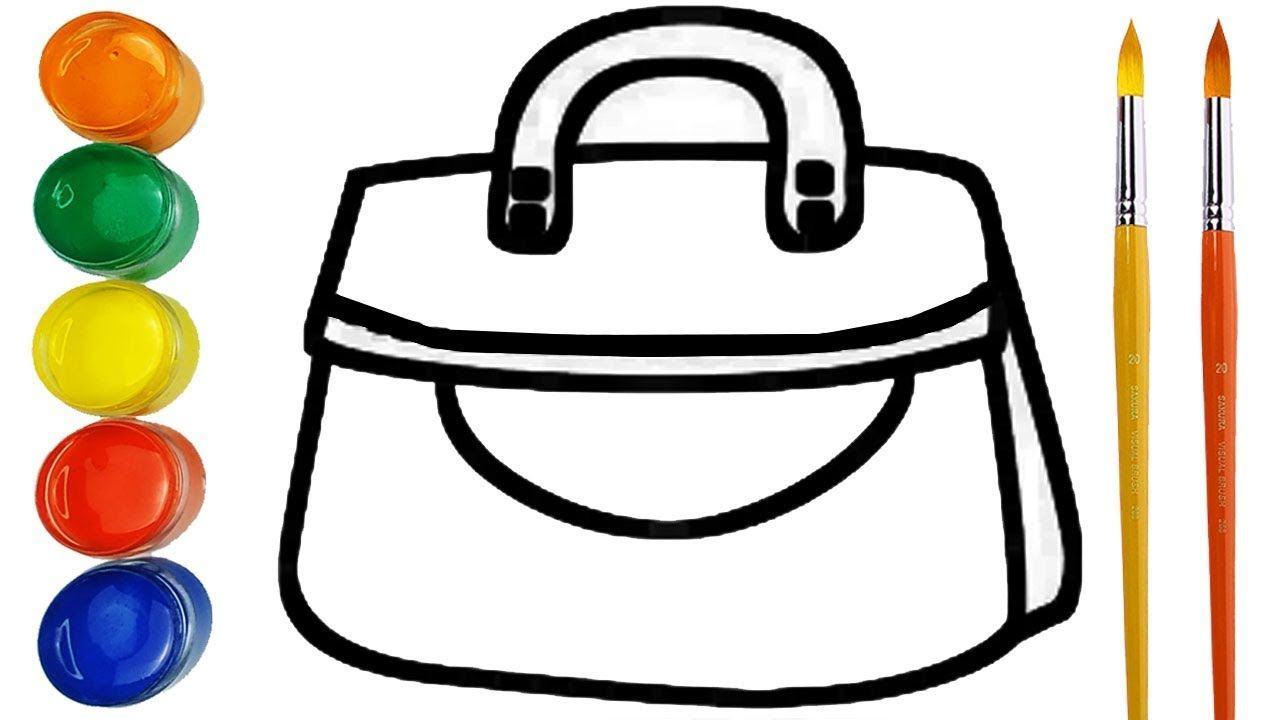 Glitter Handbag Drawing And Coloring For Kids How To Draw A Handbag Coloring For Kids Drawing For Kids Cherry Drawing