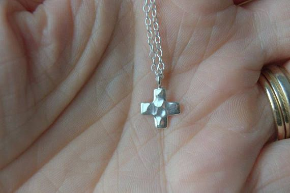 Cross necklace small silver cross necklace first communion gift cross necklace small silver cross necklace first communion gift hammered cross pendant catholic gift religious jewelry christian gift aloadofball Gallery