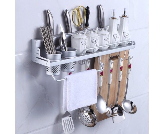 Wall Mount Knife Spice Kitchen Utensil Hanging Rack Organizer