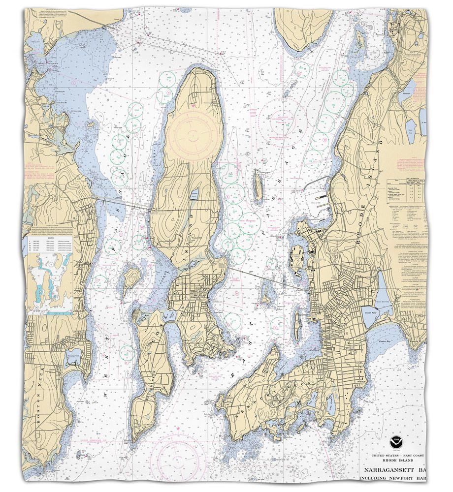 Ri Narragansett Bay Ri Nautical Chart Silk Touch Throw Blanket