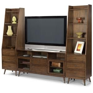 Gemini Mid Century Modern Entertainment Wall Unit By Flexsteel At Hennen Furniture Entertainment Wall Units Entertainment Wall Wall Unit