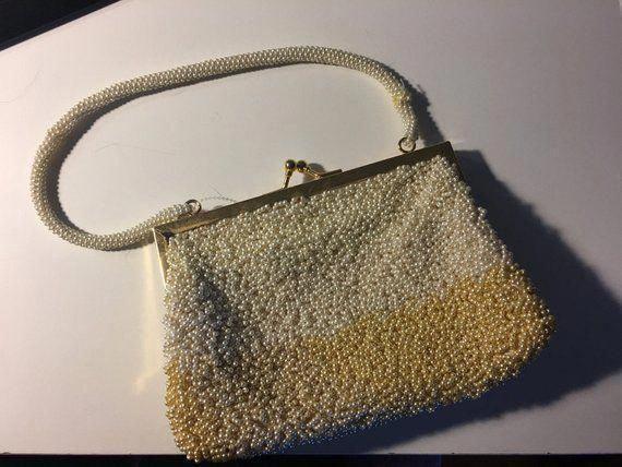 26ef325c03c4 Vintage purse   vintage handbag   vintage bag   faux pearl tri color clutch    clutch  LeatherHandbagsMichaelKors  Pradahandbags