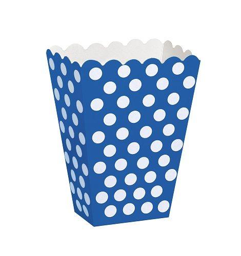 royal blue and white polka dot paper treat boxes.