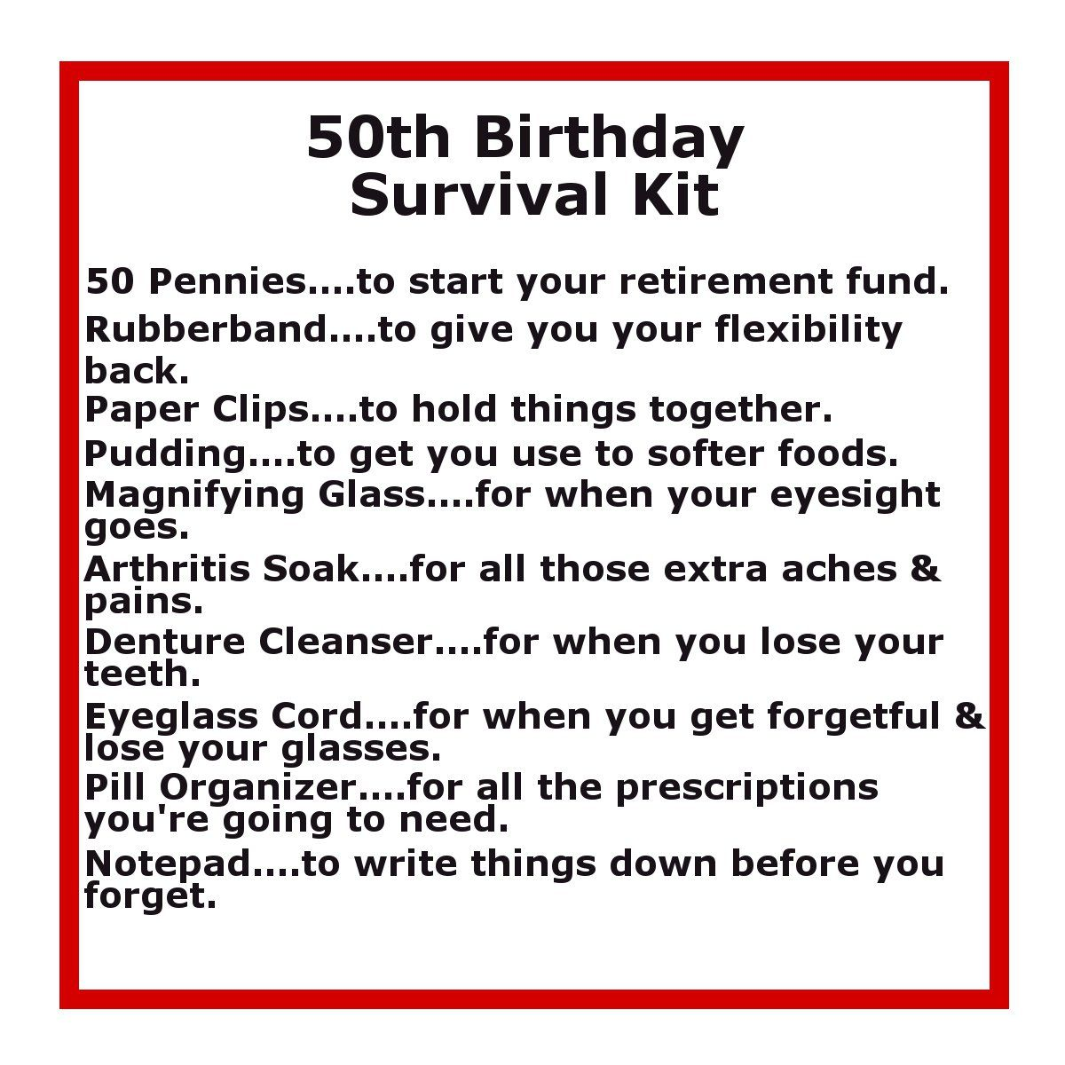 50th Birthday Survival Kit – 50th Birthday Greetings Messages