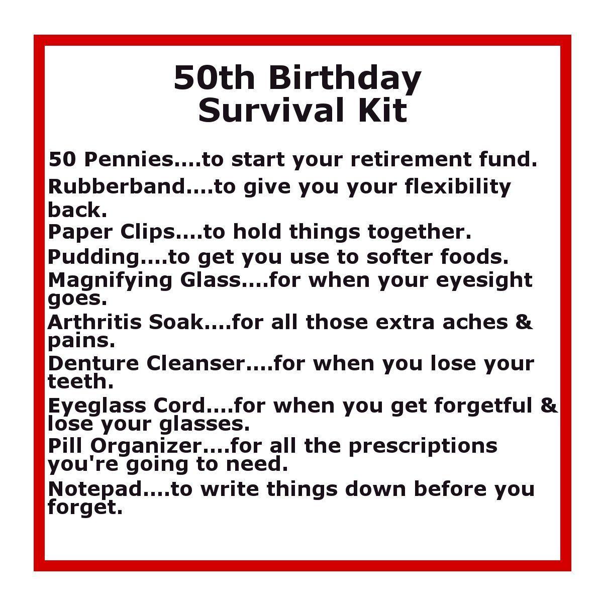 50th Birthday Survival Kit Birthday survival kit Survival kits