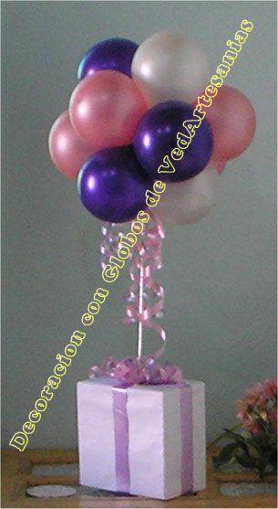 centro de mesa con globos fiestas Pinterest