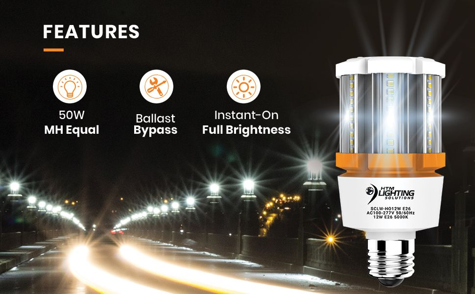 12w Led Corn Light Bulb 50w 70w Metal Halide Equal 1 740 Lumen Ballast Acorn Lights Bulb