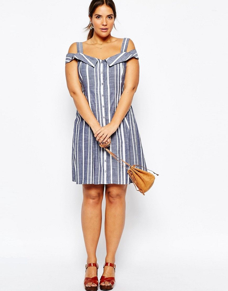 cd8a9ed46d5 Image 4 of ASOS CURVE Off Shoulder Midi Sundress In Stripe
