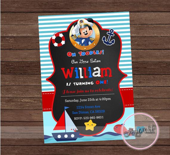 Marinero Mickey Mouse Invitación Fiesta Invitación De