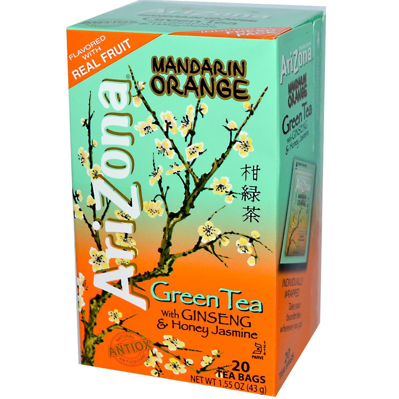 AriZona, Green Tea, with Ginseng & Honey Jasmine, Mandarin Orange, 20 Tea Bags, 1.55 oz (43 g) - iHerb.com. Bruk gjerne rabattkoden min (CEC956) hvis du vil handle på iHerb for første gang. Da får du $5 i rabatt på din første ordre (eller $10 om du handler for over $40), og jeg blir kjempeglad, siden jeg får poeng som jeg kan handle for på iHerb. :-)