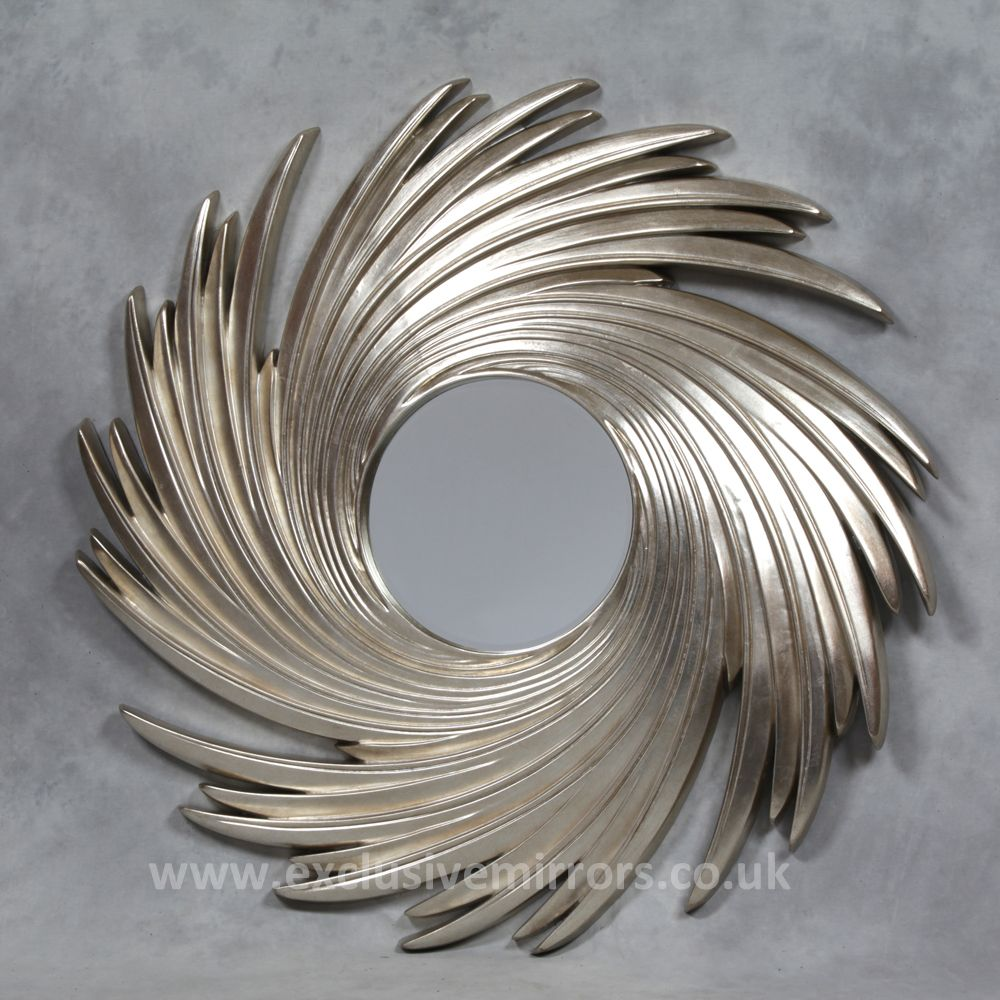 Extra large silver swirl mirror 130 x 130 x 7 cm ee1598 for Large silver decorative mirrors