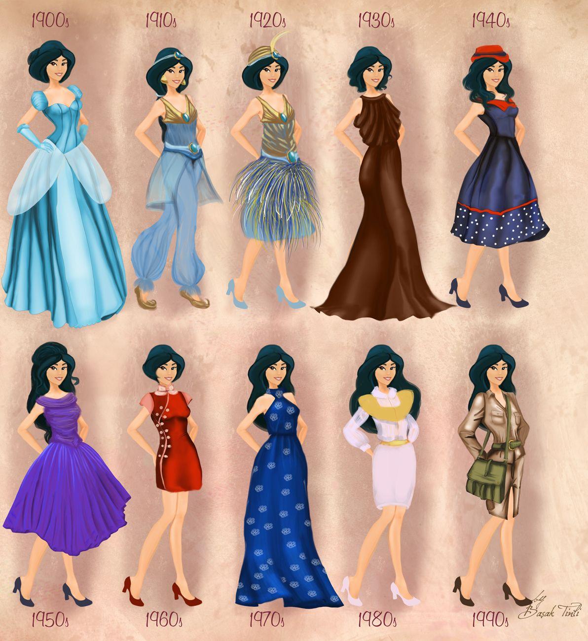 Jasmine in 20th century fashion by BasakTinli by BasakTinli.deviantart.com on @DeviantArt