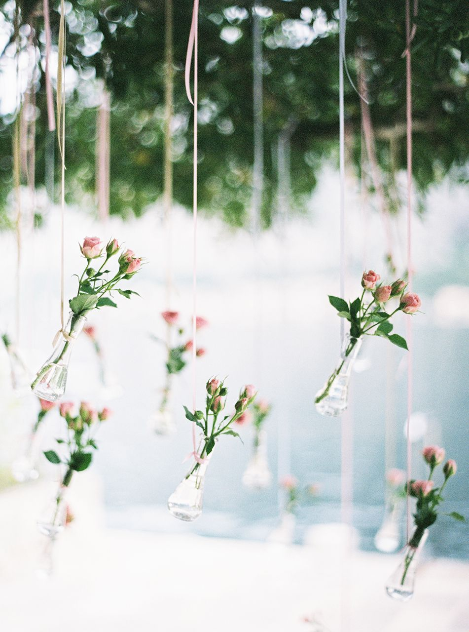Roses in wedding decor ceremony details decoration pinterest roses in wedding decor hanging vaseswedding reviewsmspy