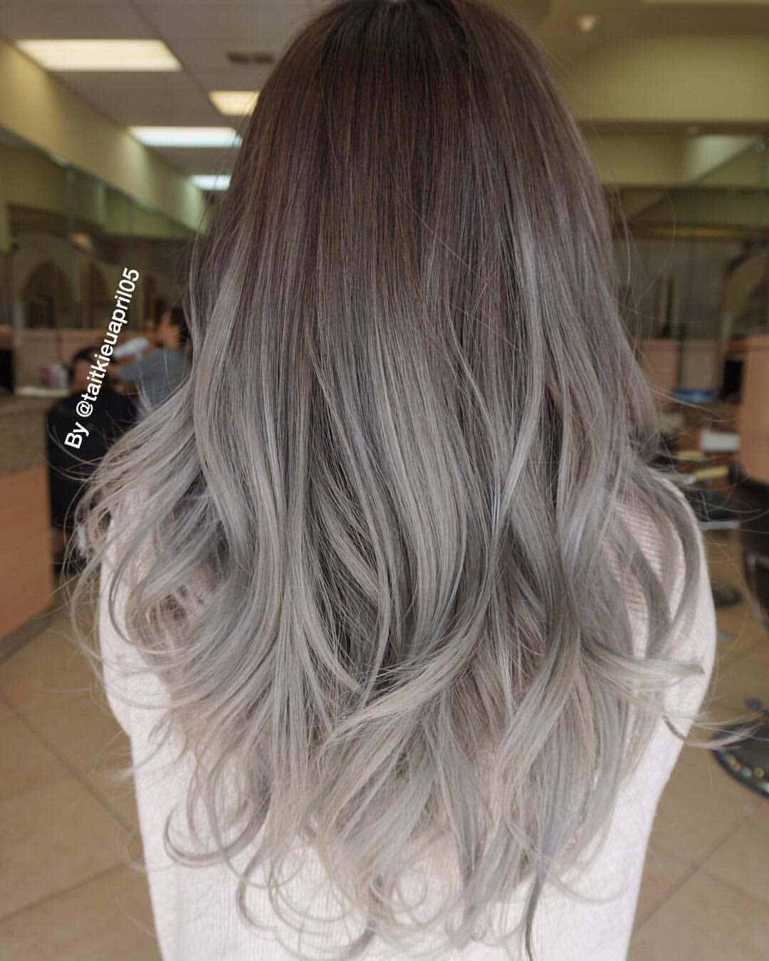 See This Instagram Photo By Taitkieuapril05 254 Likes Grey Ombre Hair Hair Styles Balayage Hair