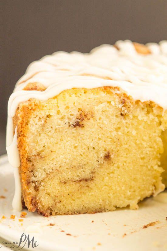 Homemade Sour Cream Cinnamon Roll Pound Cake Recipe With Cream Cheese Frosting Cinnamon Roll Pound Cake Sour Cream Cake Homemade Cake Recipes
