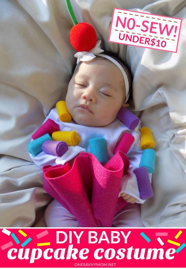no sew diy baby cupcake costume tutorial perfect for babys first halloween backtobabybasics - Baby First Halloween