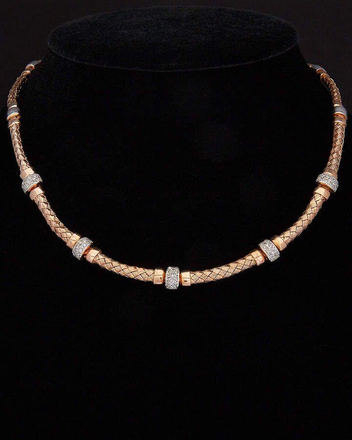 Meshmerise 18k Over Silver 0 75 Ct Tw Diamond Mesh Necklace Diamond Necklace Designs Dream Jewelry Mesh Necklace