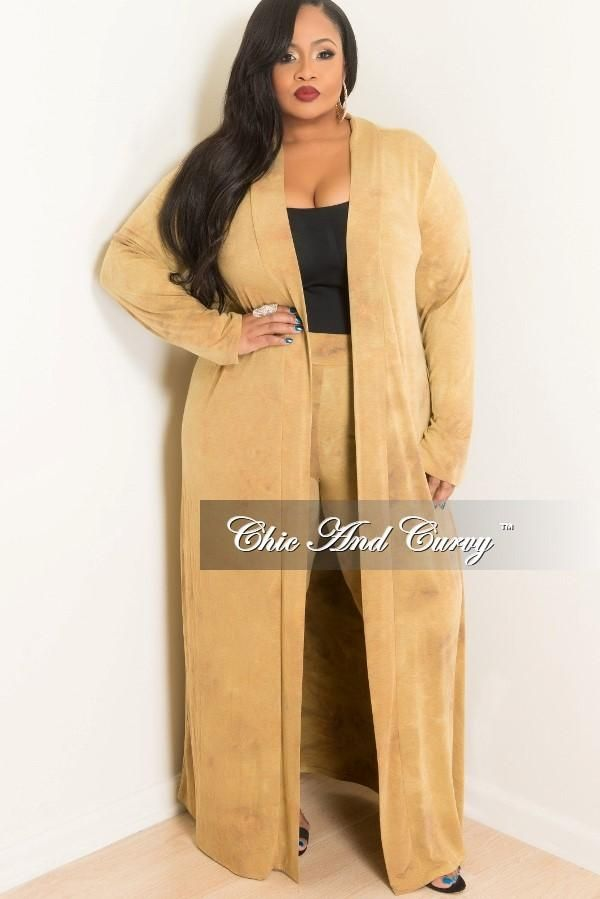 b55d03539d4 Plus Size 2-Piece Duster and Pants Set in Mustard – Chic And Curvy ...