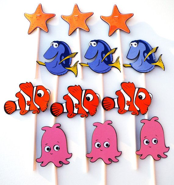 12 Finding Nemo Themed Cupcake Toppers By Scrapstoremember On Etsy