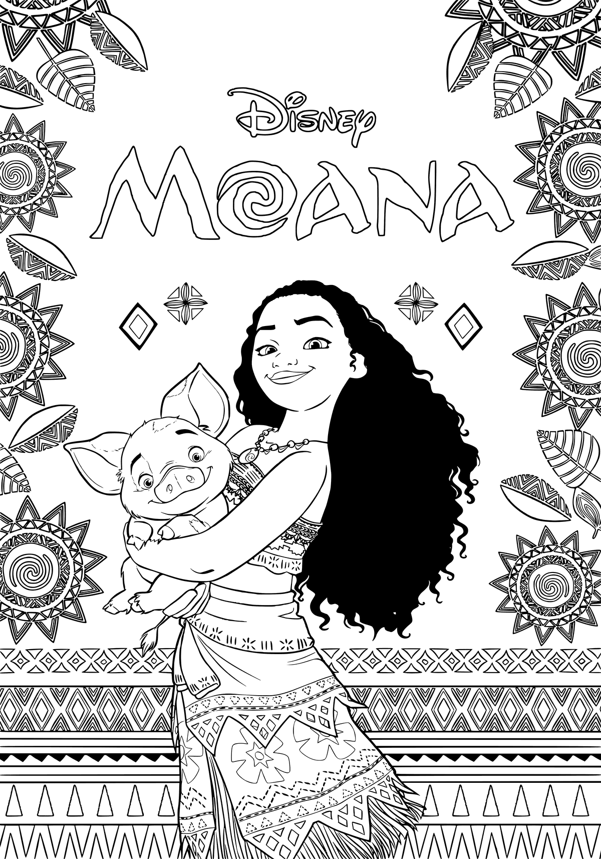 Moana Disney Coloring Pages Printable And Book To Print For Free Find More Online Kids Adults Of