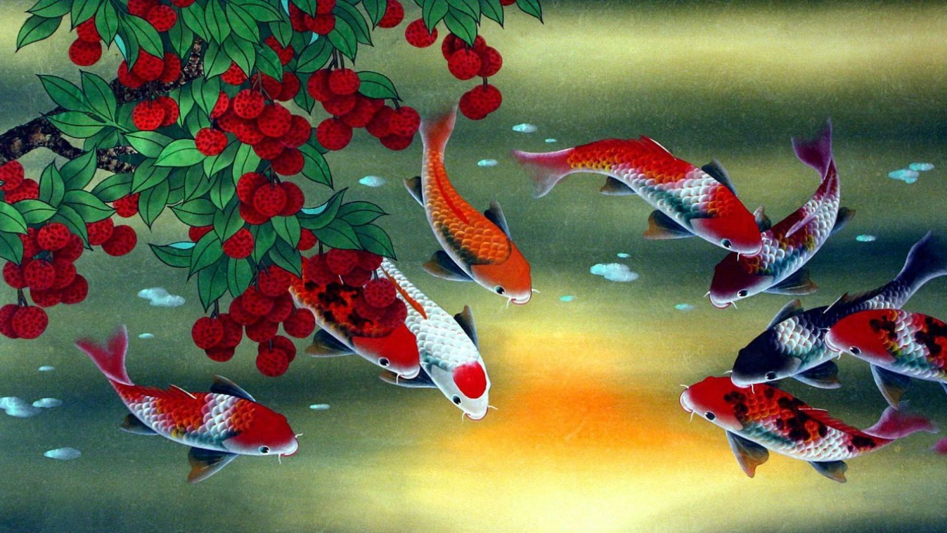 Kois Water Lychee Feng Shui Wallpapers Fish Painting Fruit Painting Fish Wallpaper