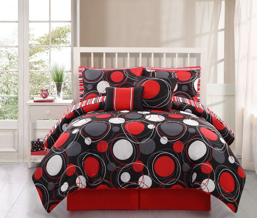 Red And Black Bedding Sets Colorful 10pc Onei L