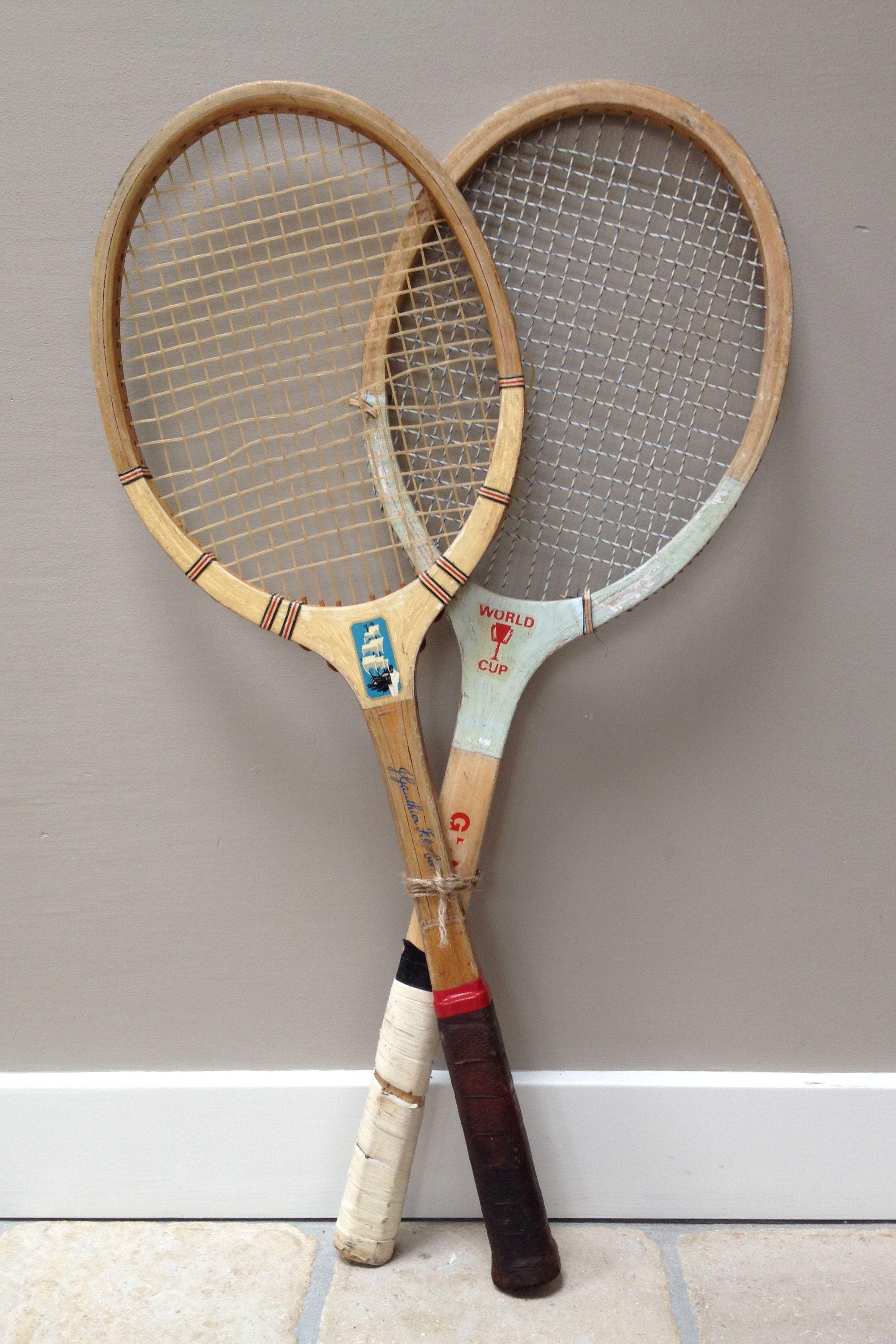 Oude, Houten Tennisrackets.