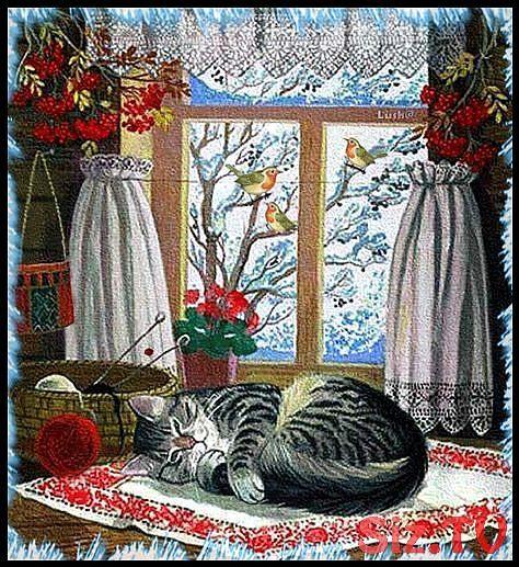 Katze am Fenster,  #Fenster #Katze #Winterbildermalen