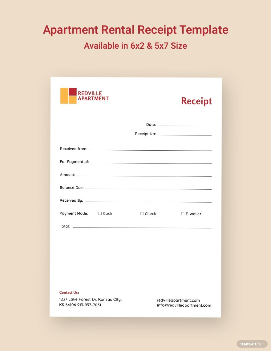 Apartment Rental Receipt Template Free Pdf Google Docs Google Sheets Excel Word Template Net Receipt Template Document Templates Templates
