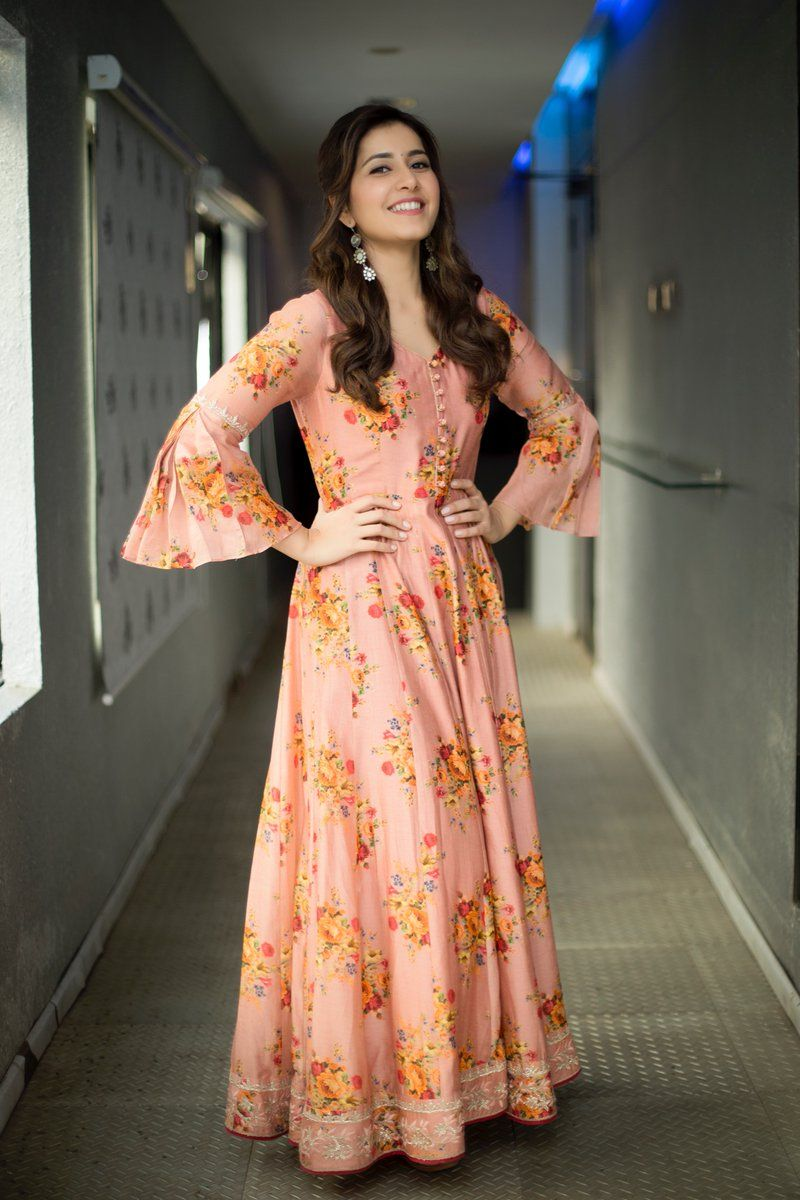 Glamorous Indian Girl Rashi Khanna Beautiful Long Hairstyle Face Photos Rashi Khanna Floral Print Dresses Indian Kurti Designs Party Wear Designer Dresses
