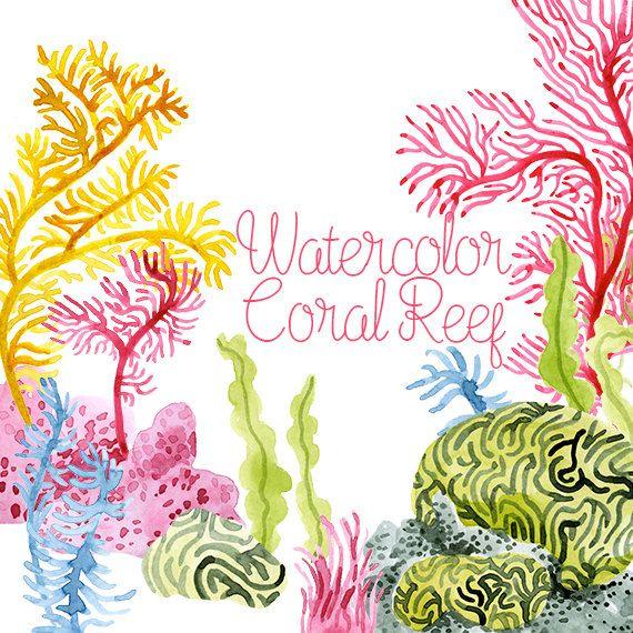 watercolor coral reef corals clip art coral reef clipart