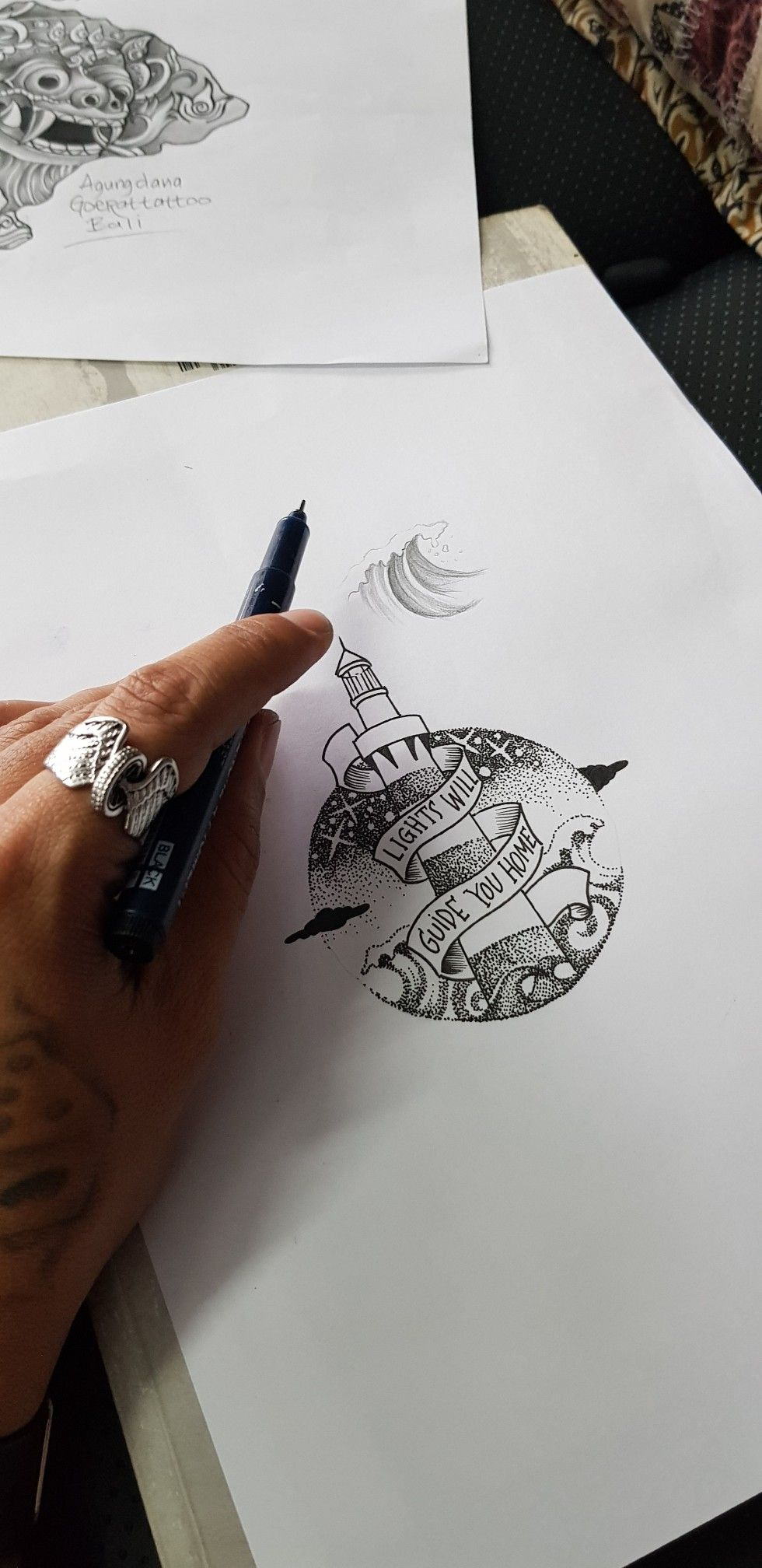light house lights will guide you home sketch drawing done