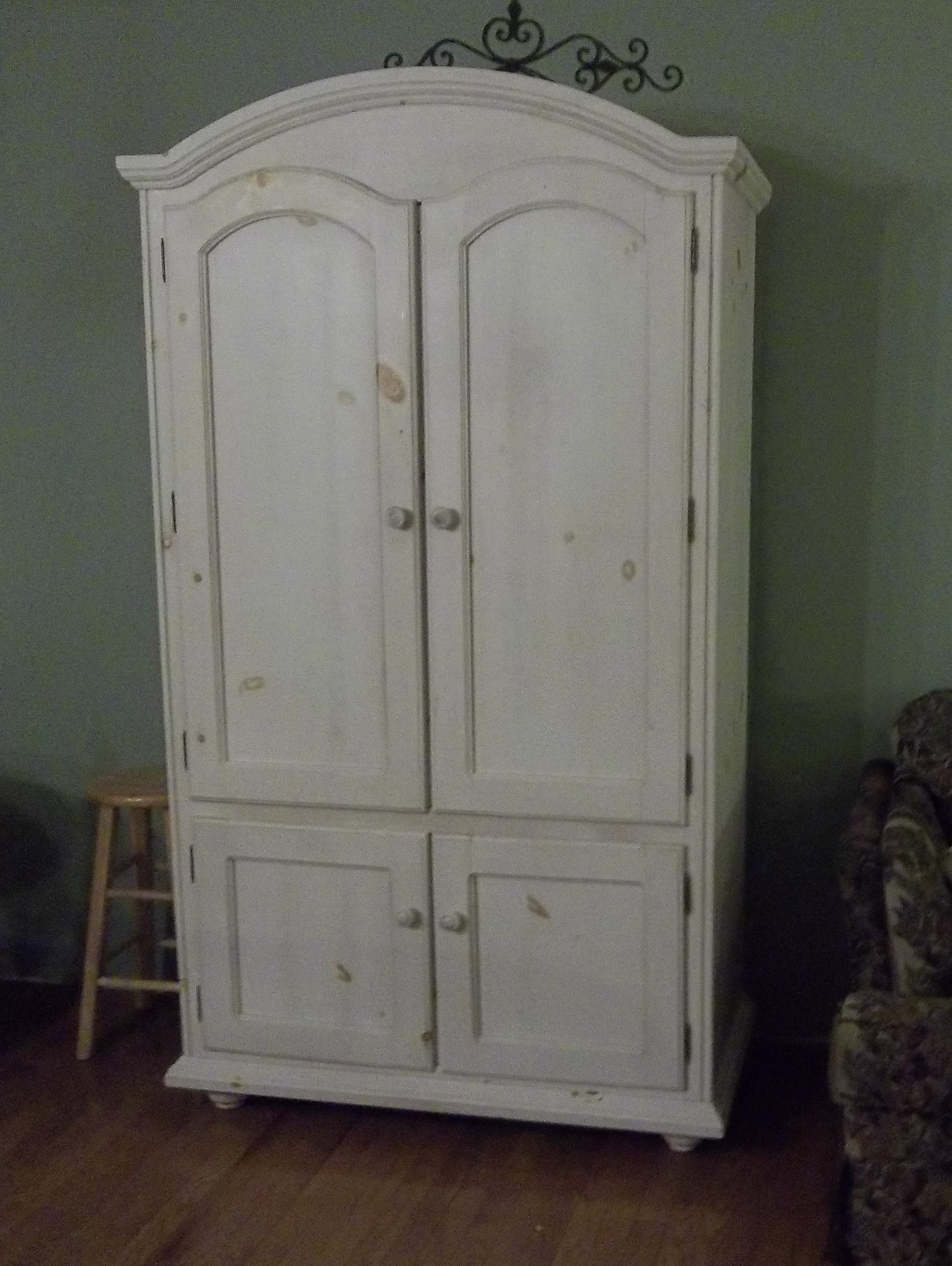 Periwinkles Design White Washed Knotty Pine Armoire