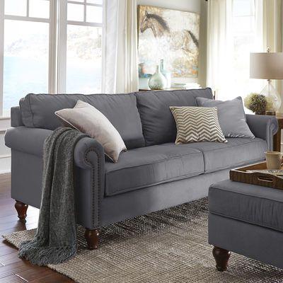 Alton Graphite Gray Rolled Arm Sofa Living Room Pinterest