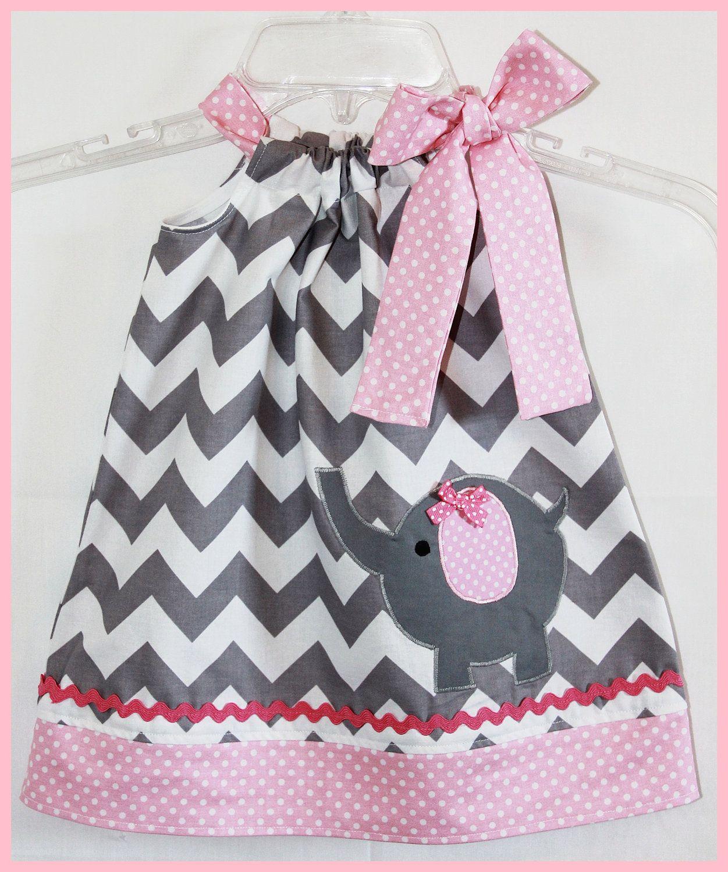 Super Cute Chevron Stripe Applique Elephant Dress Gray and Pink. $24.00, via Etsy.