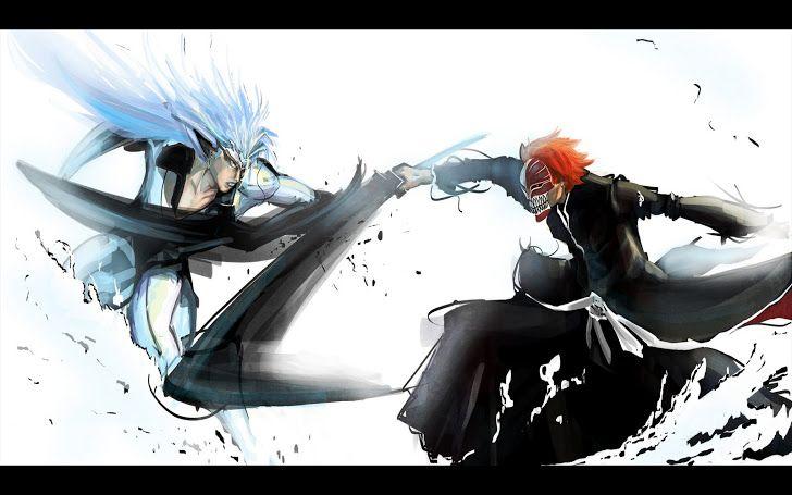 Kurosaki Ichigo vs Grimmjow Black Sword mask bleach anime hd wallpaper desktop pc background 0013.