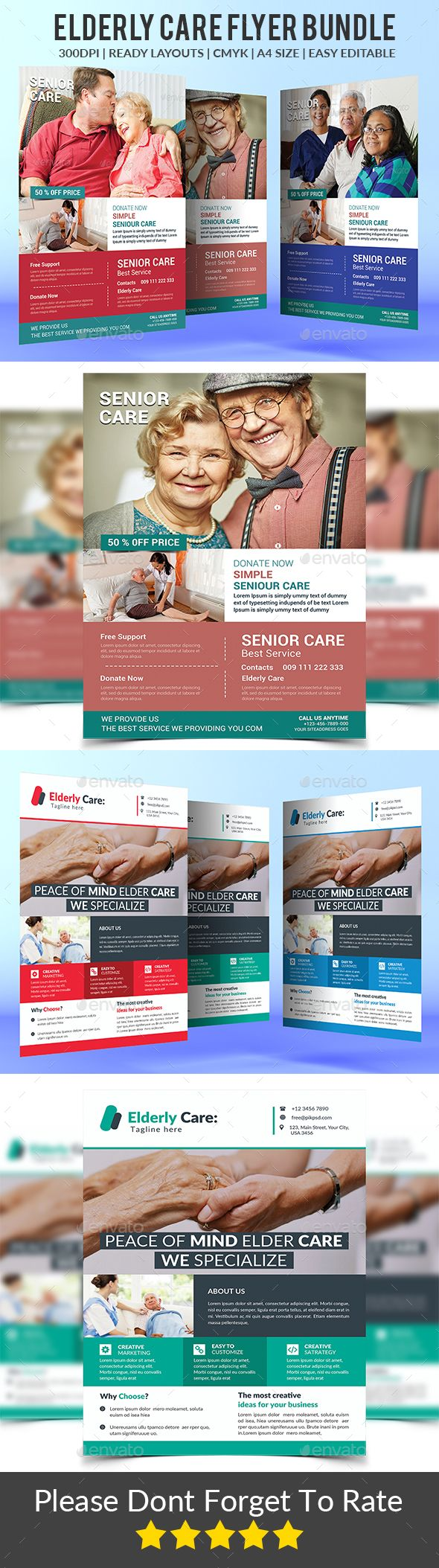 Elderly Care Flyers Bundle Elderly Care Nursing Agencies Lawn Care Business