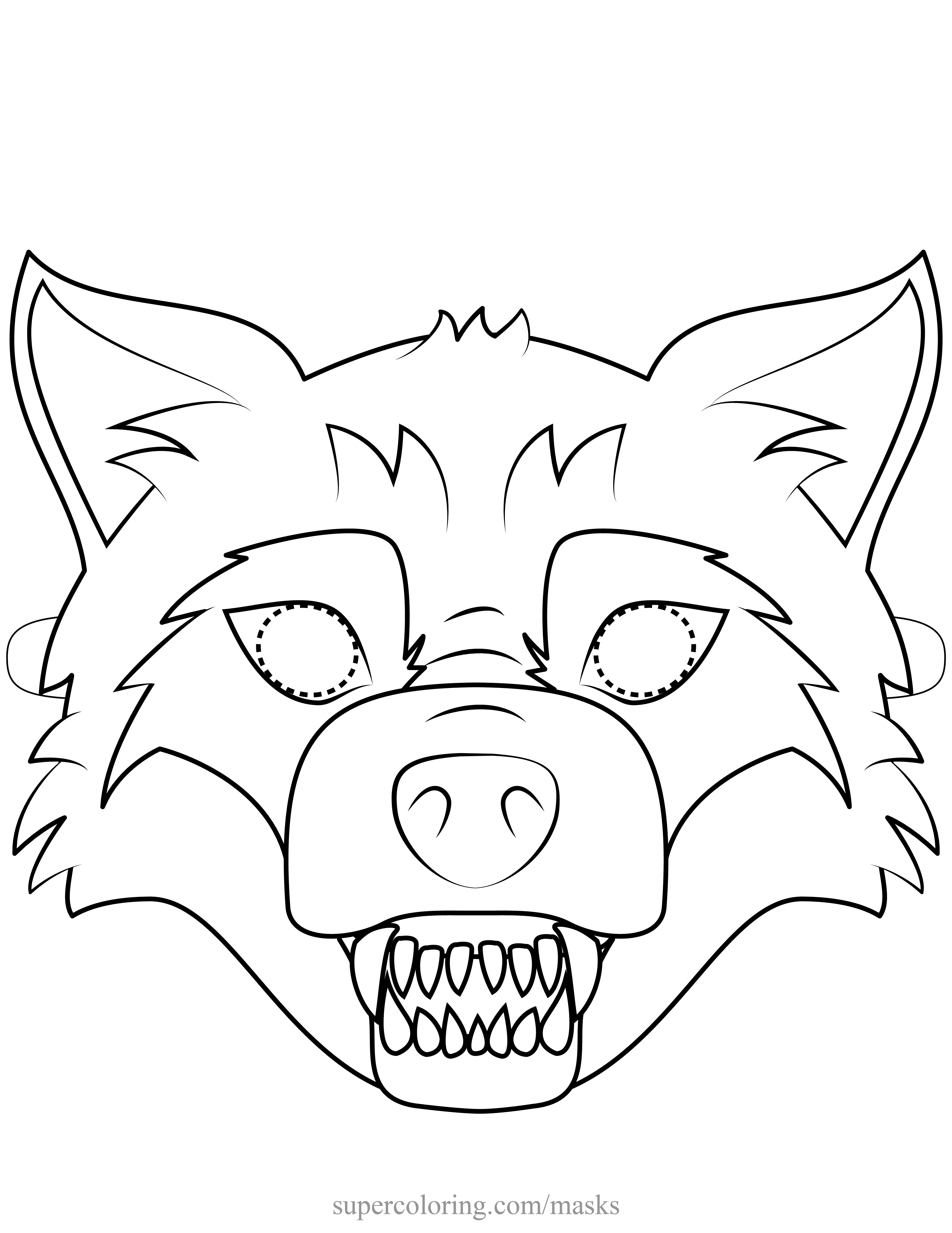 Wolf Mask Coloring Pages Portraits