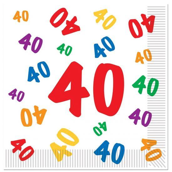 40 Jaar Servetten Voor Een Verjaardag 16 Stuks Leeftijd Servetten